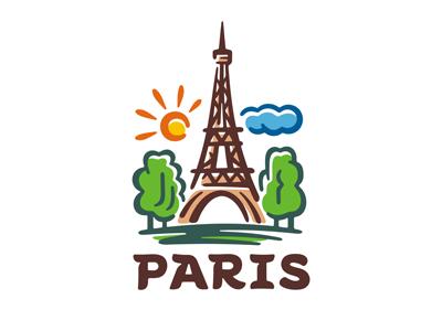 Paris logo template emblem landmark landscape drawing city travel print france eiffel tower paris logo