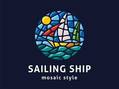 Mosaic logo template smalt glass ceramics circle round drawing adventure travel sailing sails boat sailboat ship template waves water ocean sea logo mosaic