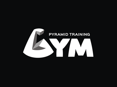 GYM workout training sport sign pyramid muscle minimal logo letter iron gym fitness exercise bodybuilding bicep arm