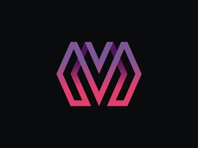 M & VM technology symbol sign mv vm m monogram minimal logo linear letter icon geometric emblem