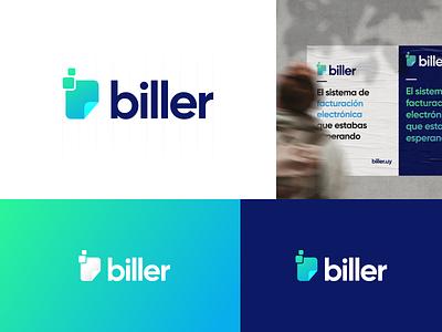 🧾 biller | branding logo mark bill biller rebranding rebrand branding and identity minimal design vector gradient branding logotype logo design logo