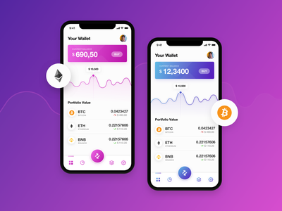 Crypto Wallet App colorful dashboard crypto trading gradients ui concept ui app design crypto exchange cryptocurrency wallet ui wallets crypto