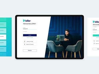 biller | Login Screen web app design web app billing splashpage login design login screen login form login bill