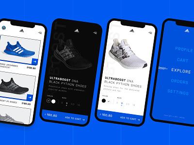 Adidas Mobile App dark ui mobile app design mobile ui app design sports design trendy design branding minimal shoe design blue adidas originals app shoes adidas