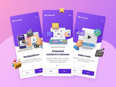 CreatorKit / Onboarding color design video app creator mobile app design ux ui illustration gradient user branding animation 3d