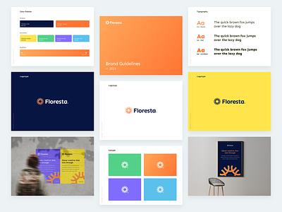 Startup Branding / Floresta concept abstract logotype flower logo process brand manual guide brand guidelines minimal vector logo gradient design branding