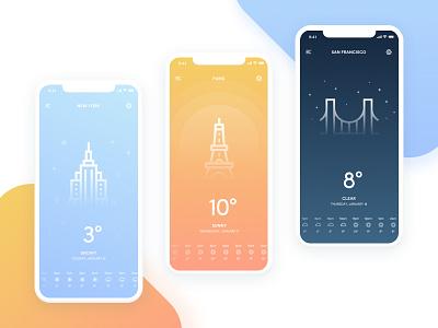 Weather App ios travel minimal gradients visual ui weather
