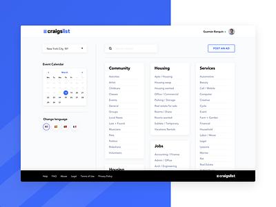 Craigslist UI Concept web desktop user interface cards lists landing dashboard visual design ui