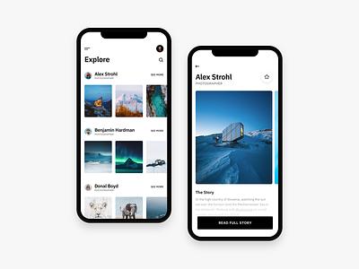 Photography App iOS artists ios adventures explore alex strohl black and white minimal photo app photographer photograhy