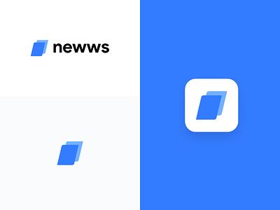 Newws App logo concept app abstract logo news blue design logo branding