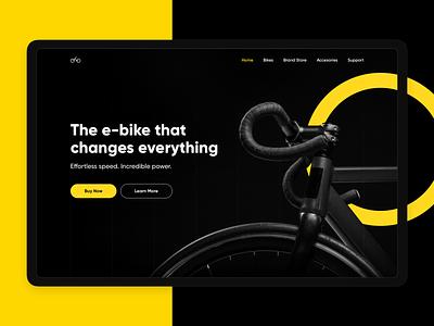 e-bike Dark Hero yellow bold ecommerce shop bikes typography hero ui black minimal dark landing