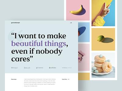 Designer · Landing newsletter typography photography graphic minimal landing design branding