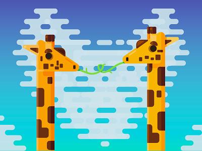 Giraffes in Love heart cloud sky love giraffes giraffe