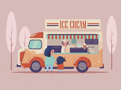 Ice Cream Truck tree seller daughter mother people sweet car van truck ice cream ice