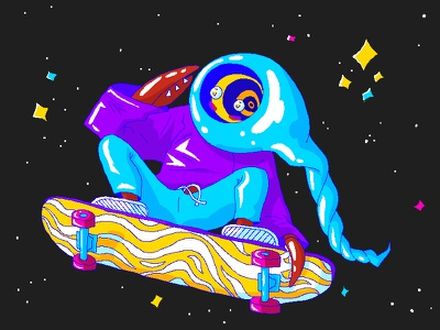 Skaterboi colorful space skateboard doodle