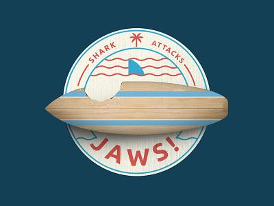 Shark Attacks Keyvisual icon surfboard patch emblem sea keyvisual attack shark jaws surf typo logo