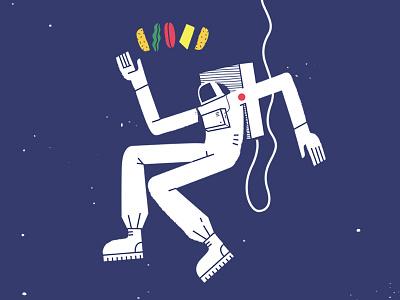 Astronaut & Burger illustration tillnoon cheese bread beef space burger astronaut