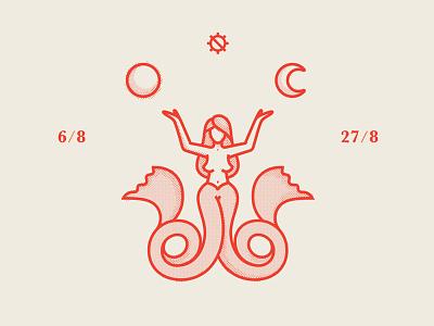 August Mermaid august moon sun mermaid icon