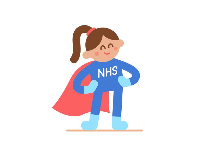 NHS Heros 👏💙👏 flat cartoon character illustration