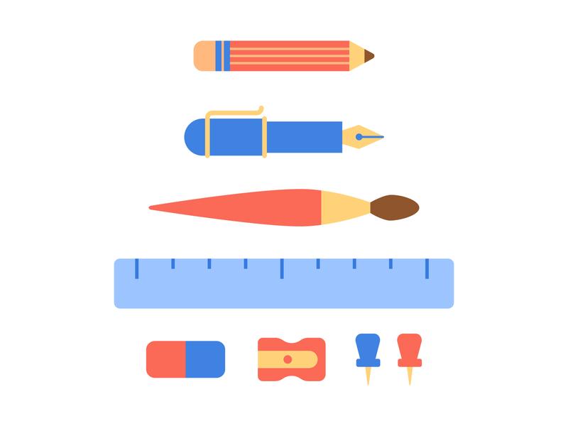 Stationery Set basic shapes simple minimal flat illustration
