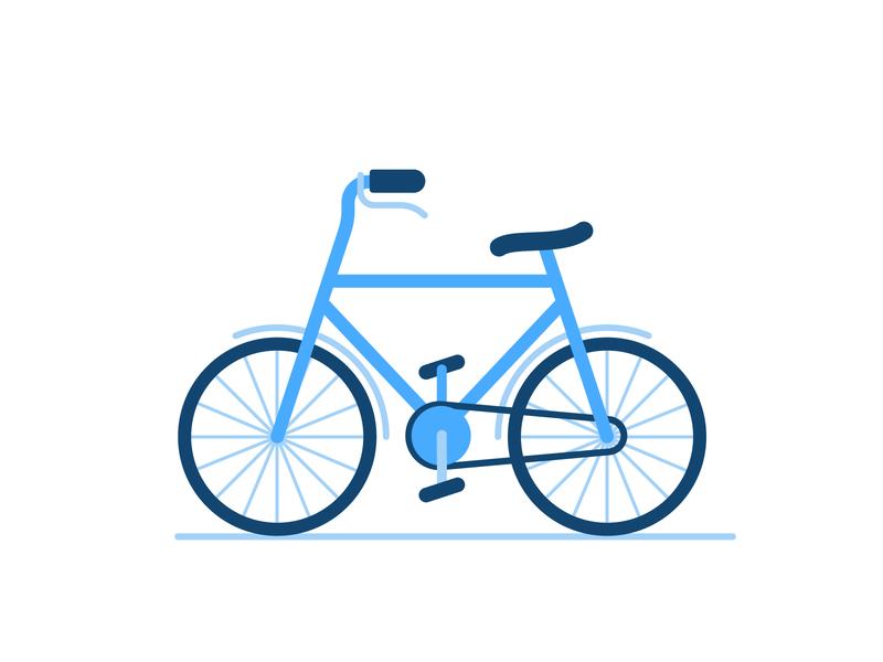 Bicycle basic shapes simple minimal flat illustration