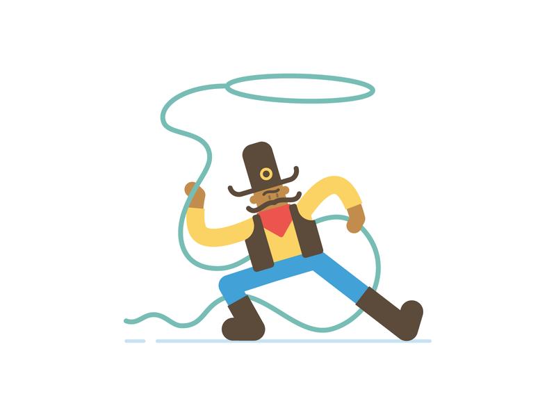 Cowboy basic shapes simple flat cartoon character illustration