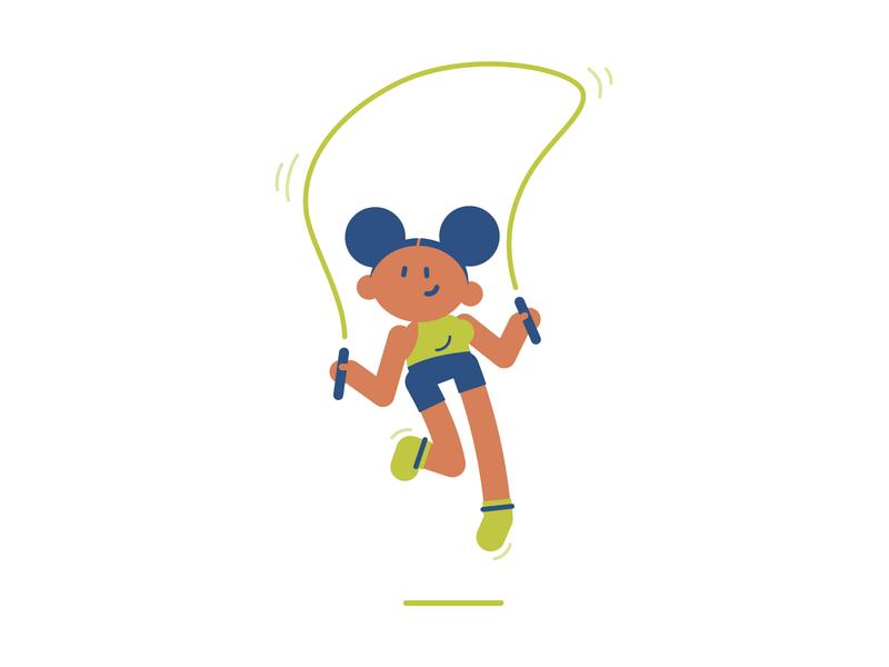 Skipping Rope flat cartoon character illustration