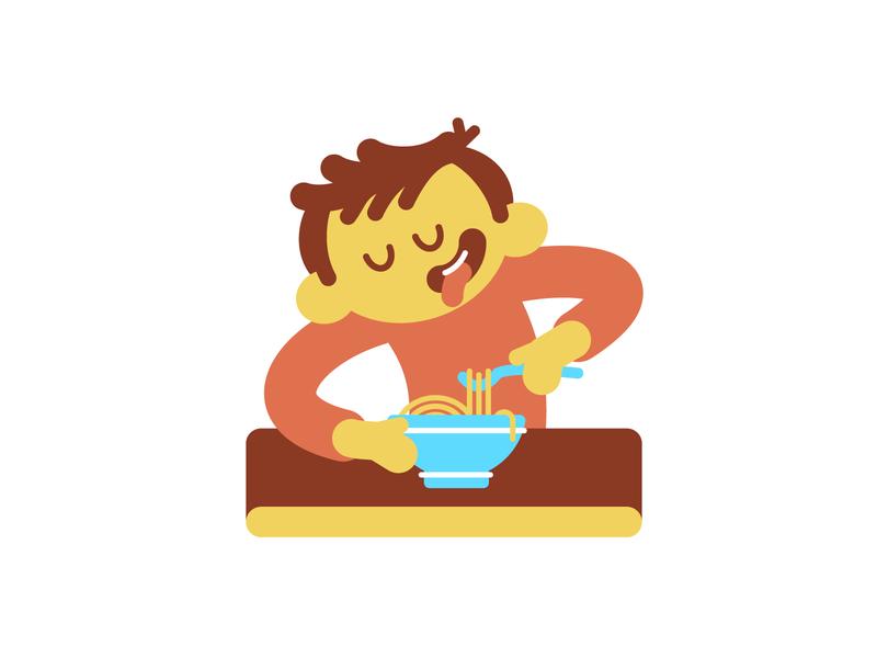 Spaghetti character cartoon flat illustration