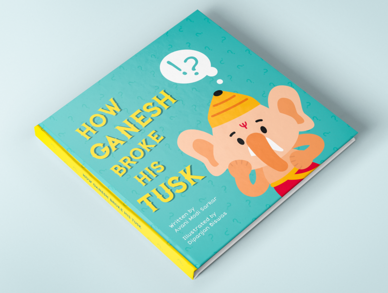 Children's book illustration - How Ganesh broke his task mythology indian digitalillustration flat cartoon character illustration