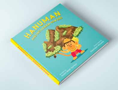 Children's book illustration - Hanuman and his hidden power digitalilustration mythology indian flat cartoon character illustration