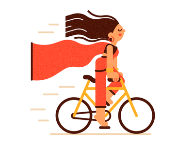 Lady on a Bicycle lady woman flat cartoon character illustration