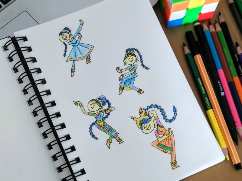 Classical Dance of India sketches