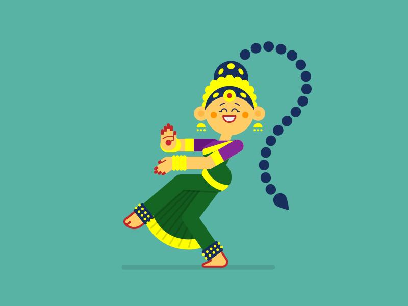 Bharatnatyam dance indian illustration