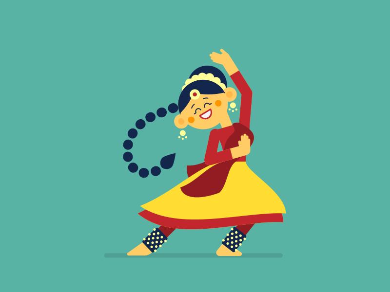 Kathak dance indian illustration