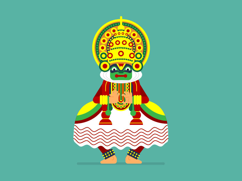 Kathakali dance indian illustration