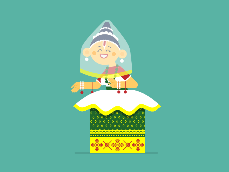 Manipuri dance indian illustration
