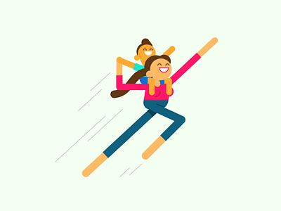 Super Mom simple flat illustration character