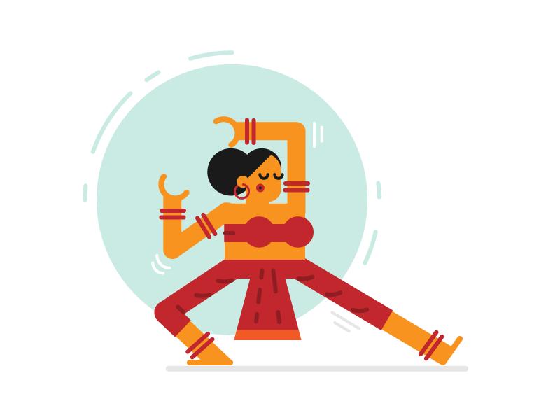 Nrityaki simple minimal flat dancer mythological indian illustration character