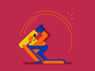 Sweep Shot geometric minimal flat cricket character illustration