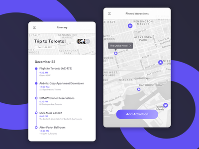 Trip Planner schedule ux modern minimal map itinerary planner concept ui