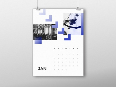 January Calendar january design creative 2018 fun abstract photography poster calendar