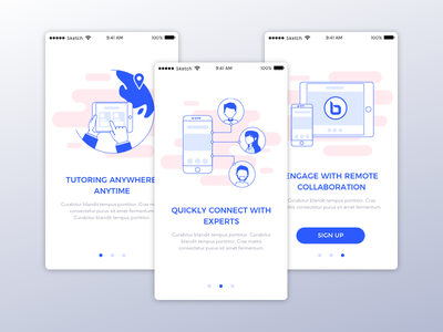 Tutoring App Onboarding explainer graphics icons interface mobile education custom brand illustrations ux signup onboarding