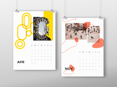 Favourite Calendar Designs! poster 2018 shape card colour block photography abstract custom creative calendar