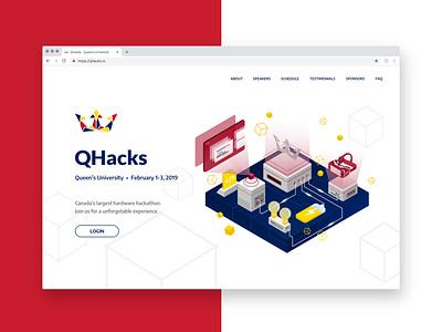 QHacks Landing Page Design technology illustration hackathon landing page illustration landing design website landing page