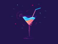 Cocktail water lemon cool ice wave drink vector cocktail illustration gradients color