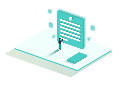 Fill the lead form document character informative man leads icon illustrator vector illustration isometric form