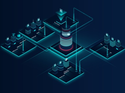 Workflow city building isometric color light vector illustration output input hologram machine process