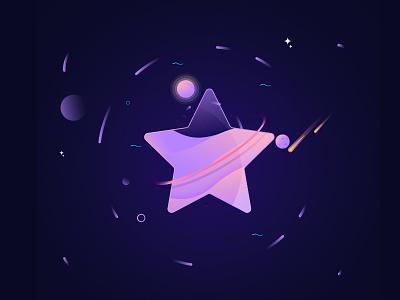 Star Planet meteor night dark illustration moon sun galaxy gradient color space planet star