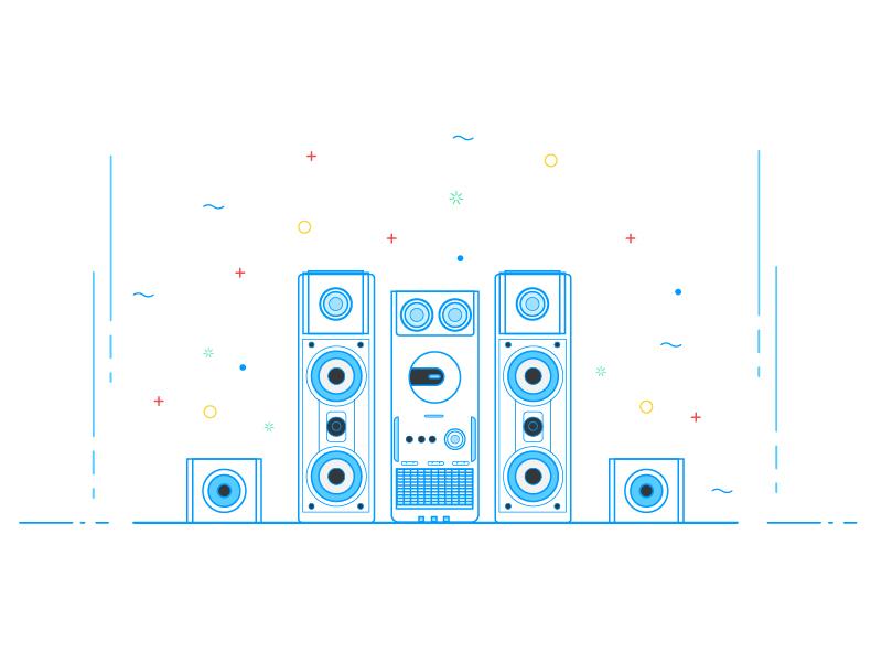 Music System illustrator song vector color illustration line art speaker music