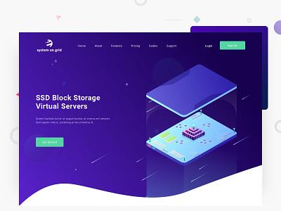 ssd block storage interface design user interface uiux illustration isometric storage ssd website ux ui